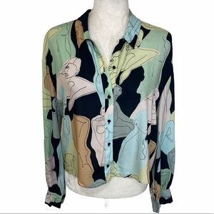 New Zara multicolor art print button down blouse